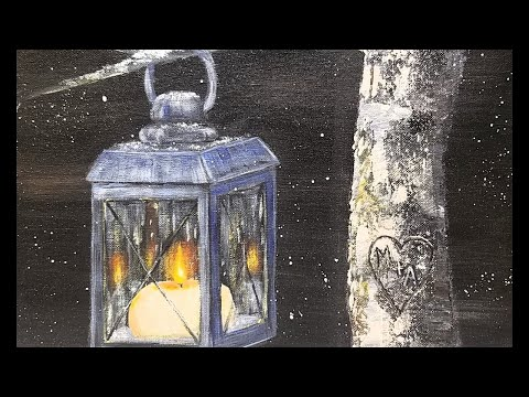 Free Painting Tutorial CANDLE LANTERN Glowing at Night in Ac