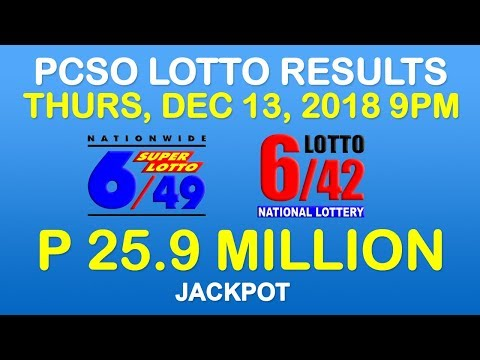 Lotto Result December 13 2018 9pm PCSO (6/49, 6/42, 6-digit, Ez2, Suertres, Stl)