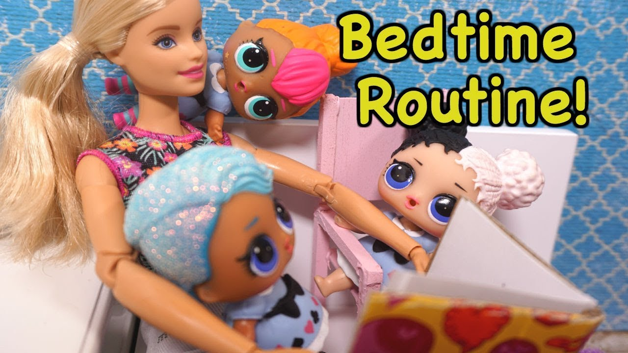 Barbie Helps Lol Surprise Dolls Get Ready For Bed Night