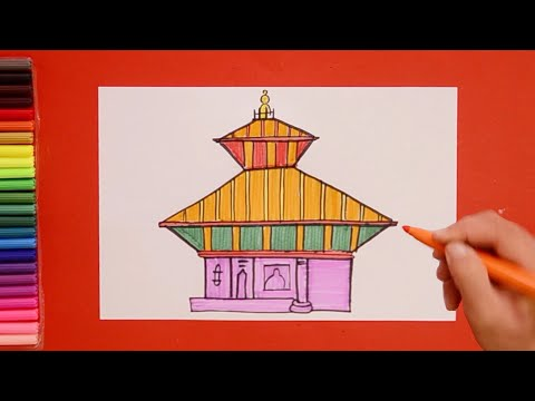 How To Draw Pashupatinath Temple, Nepal
