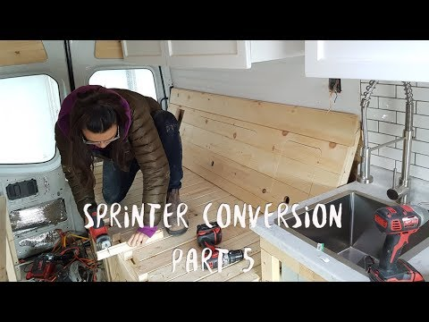 Converting a Sprinter Van | Part 5 of 6 | Solar Batteries, Table, Flooring, Plumbing