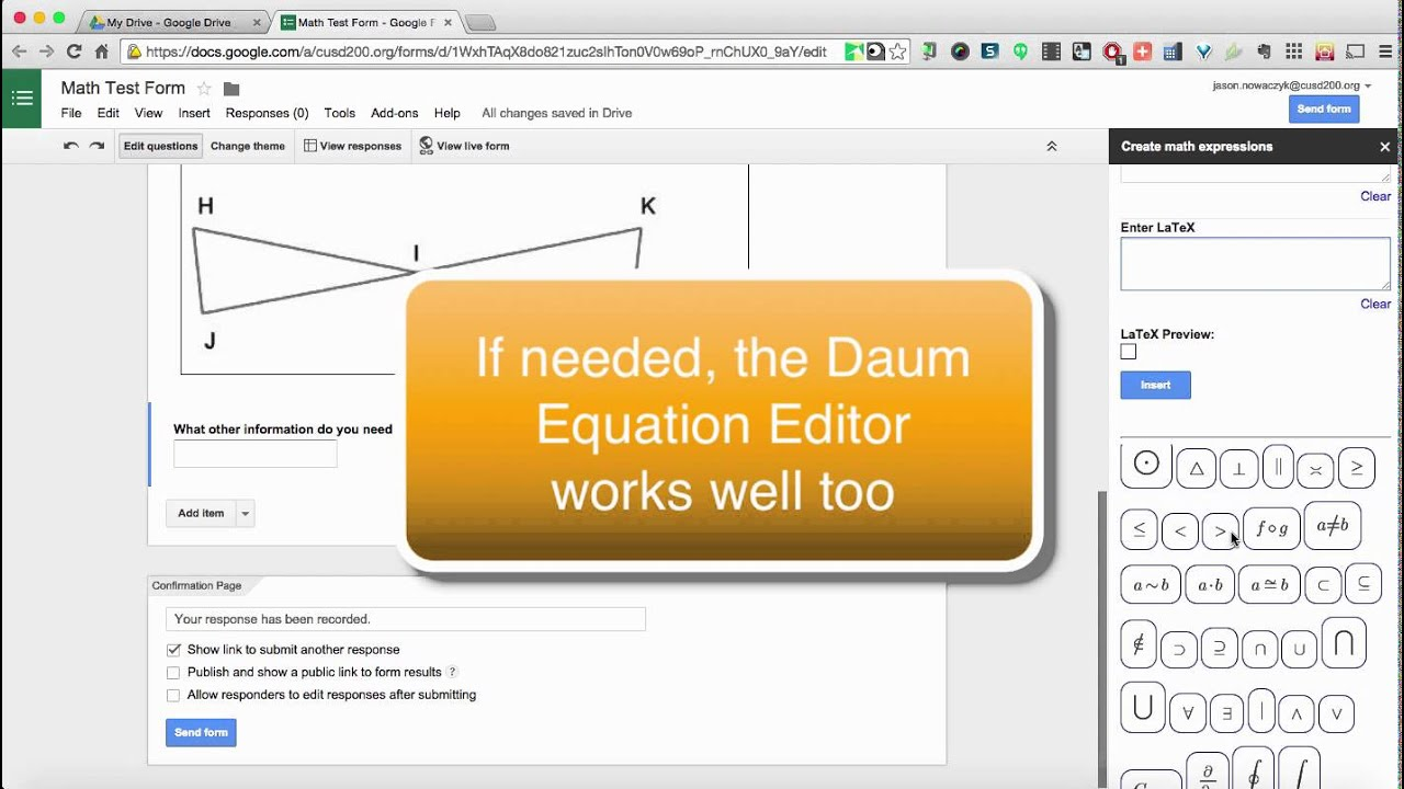 Creating math quizzes in Google Forms - YouTube