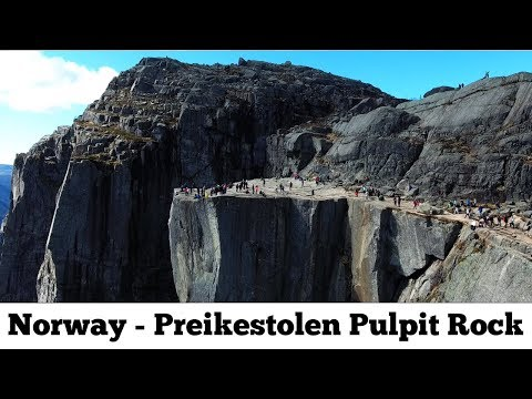 Preikestolen Pulpit Rock 4K Norway in April / May from the air drone mission impossible final scene