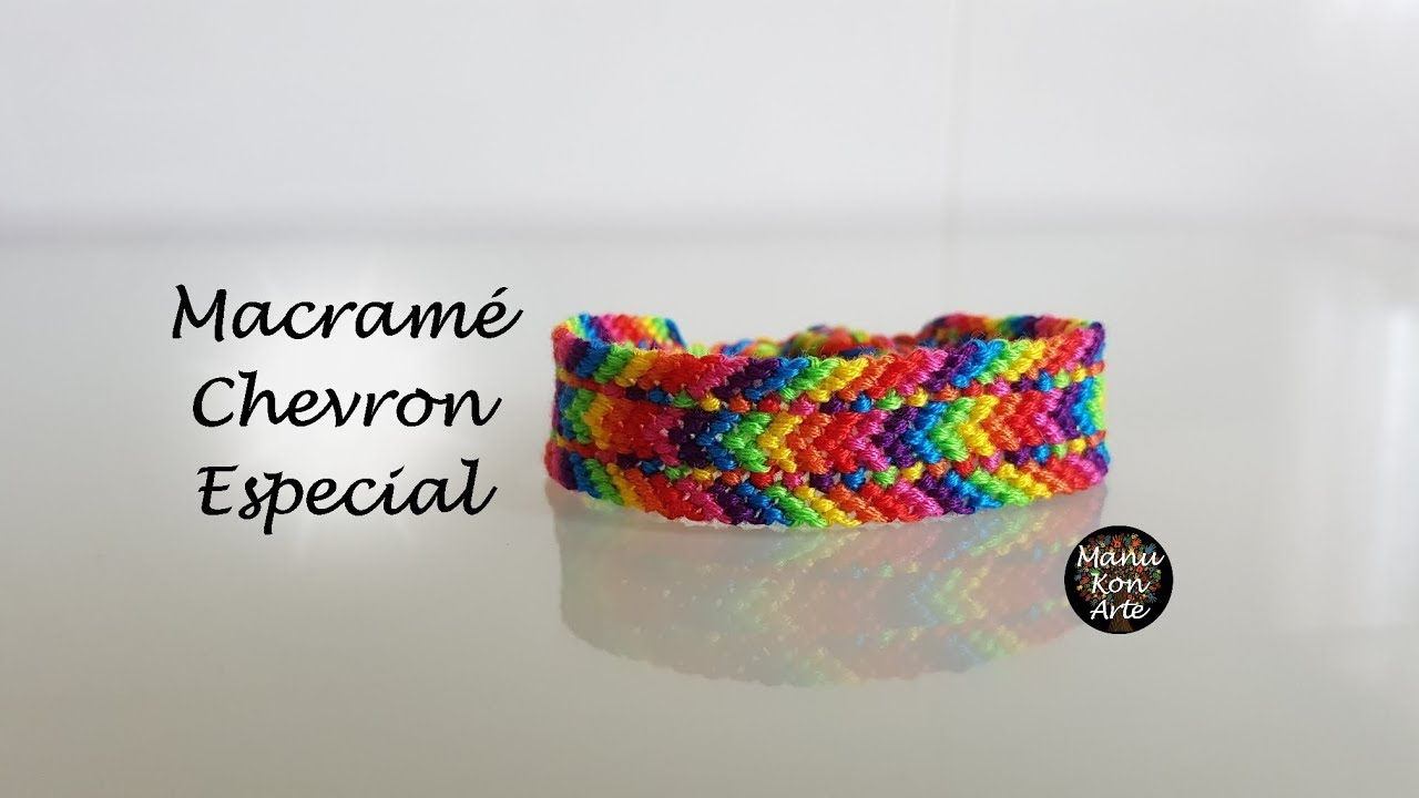 DIY Tutorial Pulsera de Macramé Chevron Especial - YouTube