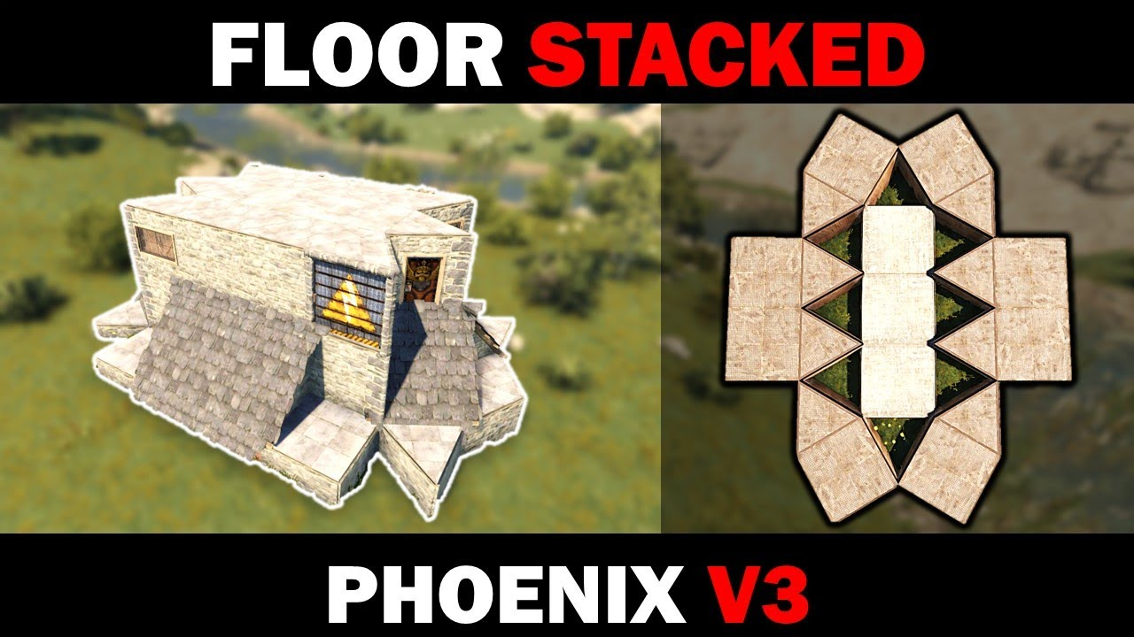 Phoenix V3 - Floor-Stacked RUST Solo/Duo/Trio Base   27 Rockets to TC