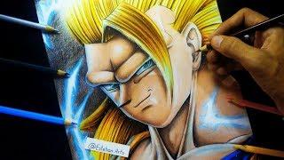 Como Dibujar A Goku SSJ3 | How To Draw Son Goku | Dragon Ball Super | Con Colores de Madera
