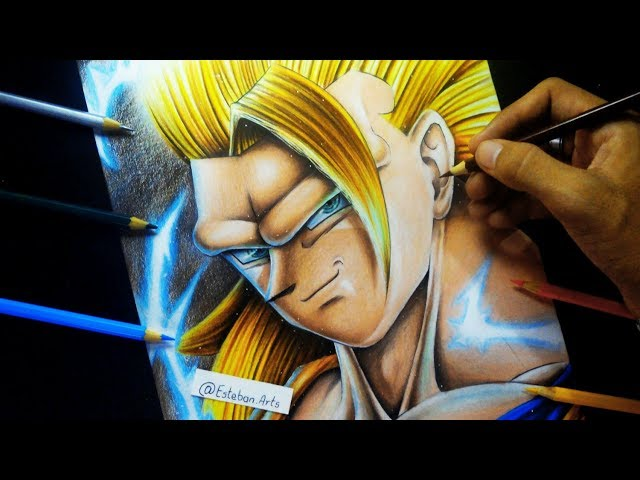 Como Dibujar A Goku SSJ3 | How To Draw Son Goku | Dragon Ball Super | Con Colores de Madera