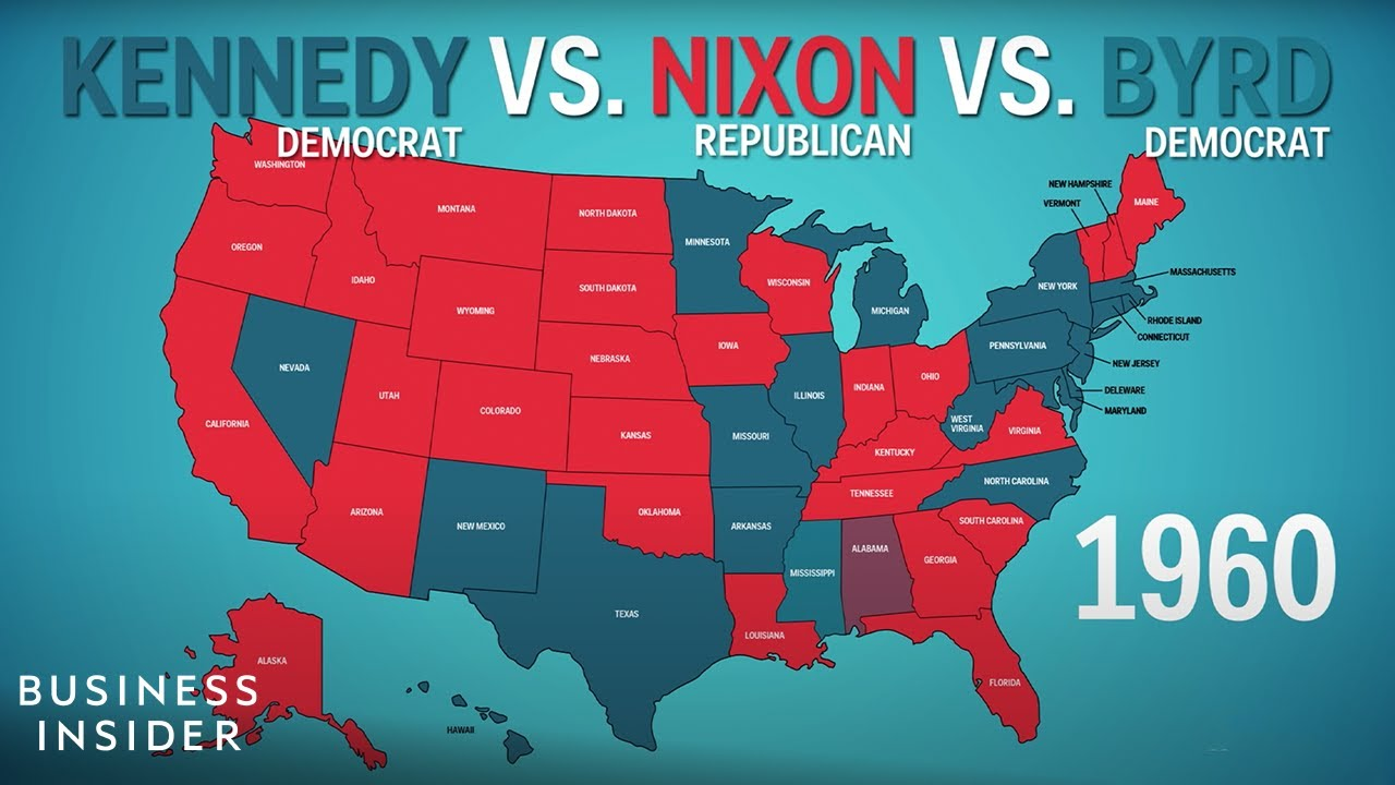 How The States Voted In Every Presidential Election YouTube - 1992 election us map