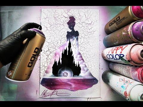 Disney Cinderella - SPRAY PAINT ART - by Skech - Популярные видеоролики!