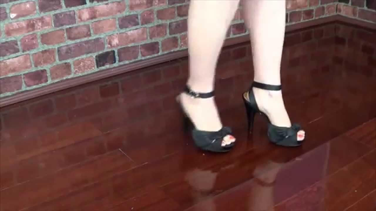 Peeptoe heels and sexy legs