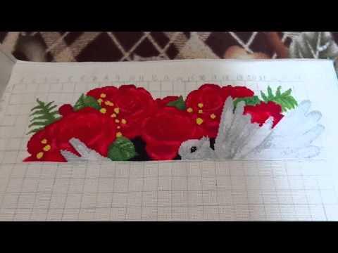 Вышивка крестиком Голуби в Розах Первый отчет))