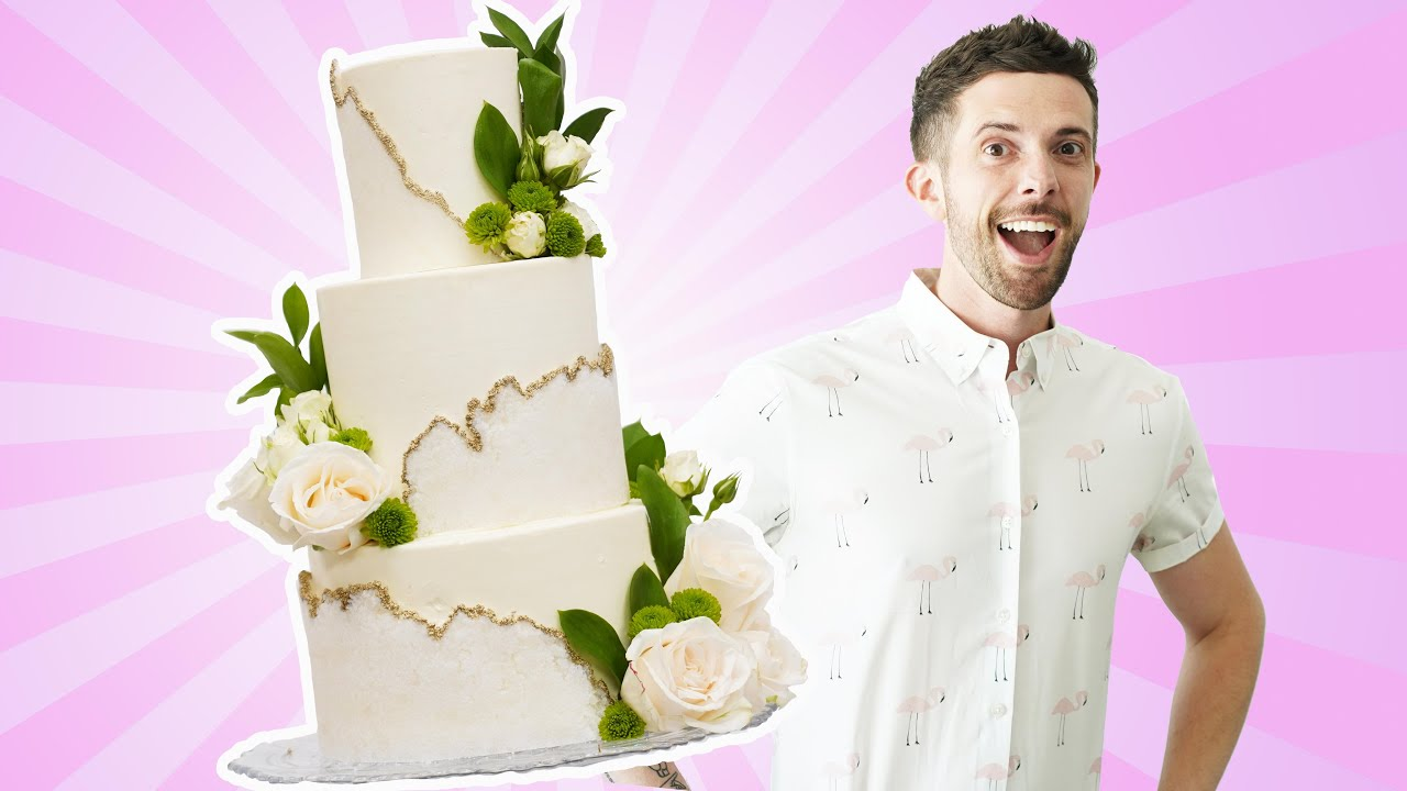 Simple Wedding Cake w/ Sugar Sheets and Vegan Vanilla Cake - You've Been Desserted