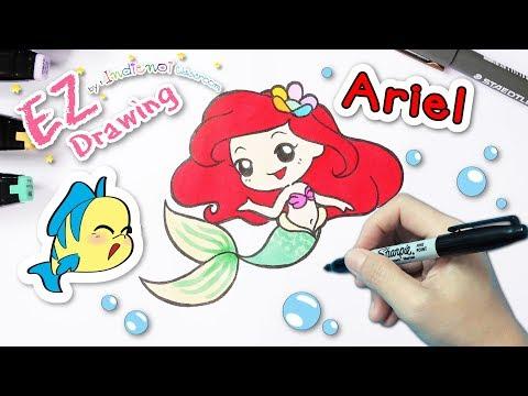 Princess ARIEL (เจ้าหญิงแอเรียล)★FREE.. Coloring★แจกภาพระบายสี☆How to Draw☆Disney Princess