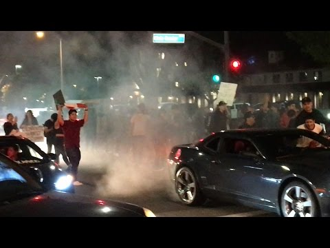 Huge Anti-Trump Riot Costa Mesa! Police Riot Squads!