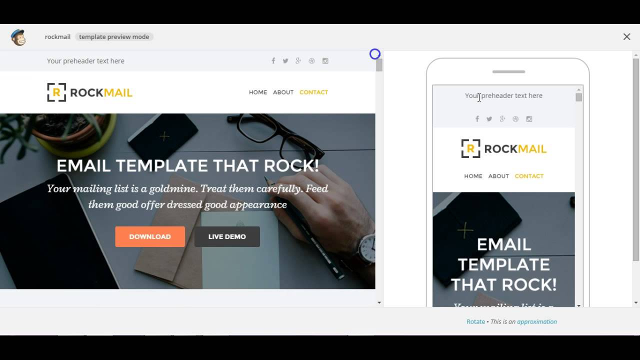 Custom mailchimp responsive email template rockmail for Cool mailchimp templates