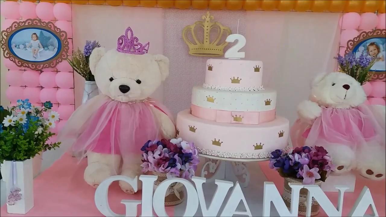 Decoraç u00e3o para festa infantil Ursinha Princesa YouTube -> Decoração De Festa Infantil Realeza
