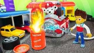 Видео про Щенячий патруль и машинки. Игры - пожарные тушат пожар в автомастерской! Детские игрушки