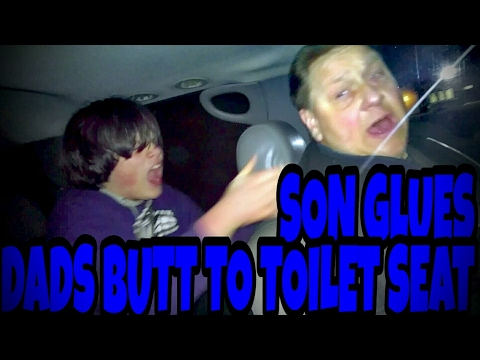 SON GLUES DADS BUTT TO TOILET SEAT!!! (Prank)