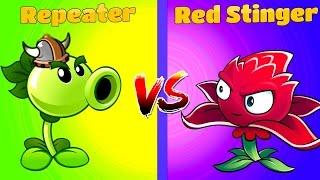 Plants vs Zombies 2 REPEATER vs RED STINGER