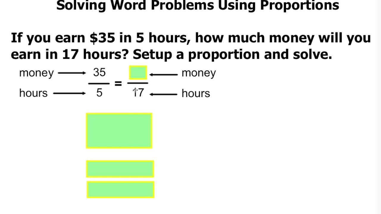 Word Problems Solving By Unit Rate Proportion Youtube