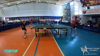 4к HD Юницкая Мария и Позняева Анастасия. Турнир по настольному теннису город Гагарин 9-11 апреля