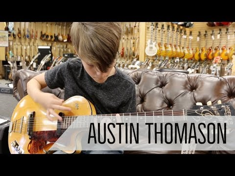 11-year-old Austin Thomason playing a 1960 Hofner Club National at Norman's Rare Guitars