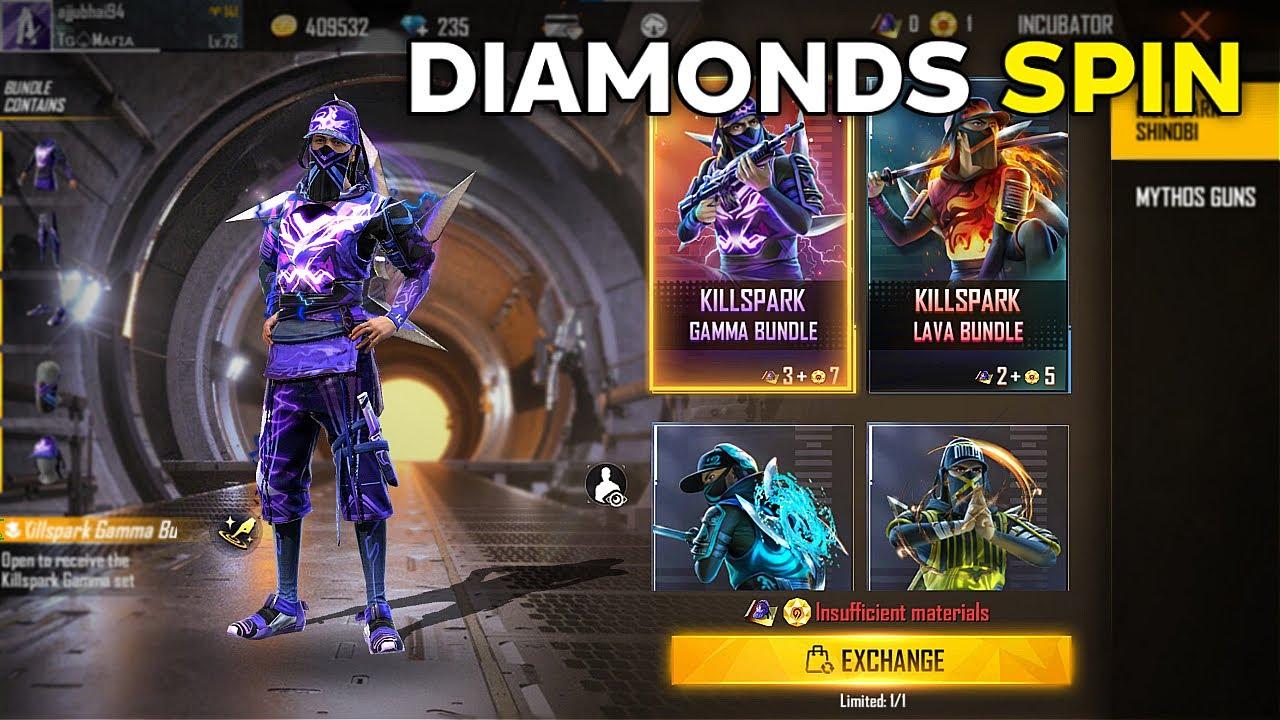 New Incubator in Free Fire KillSpark Gama Bundle Diamonds Spin - Garena Free Fire- Total Gaming Live