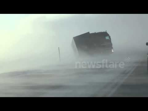 Extreme winds blow truck off road in Iceland