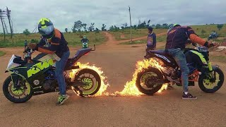 Fire Burnout & Stunning Stunts on KTM DUKE 200, KTM RC 200 & HONDA DIO By Team LSi thumbnail