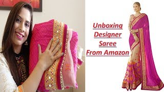 UNBOXING BEST DESIGNER WEDDING & PARTY WEAR  SAREE FROM AMAZON || DIWALOG DAY 1 || Sarita Malik