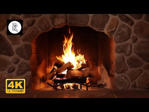 Crackling Fireplace, Fire Burning w/ Snowstorm & Howling Winds Outside | Relaxing Nature Sounds