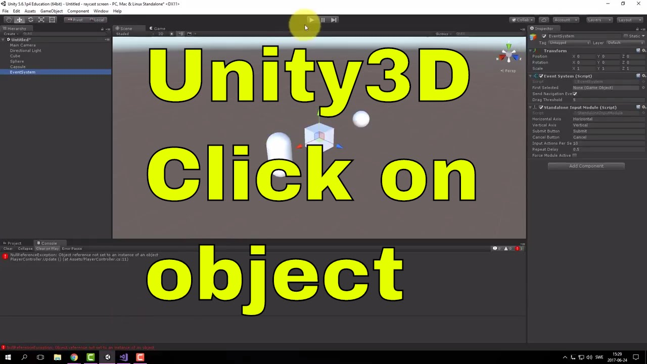 Click on object with Raycast screen - Unity [ENG]