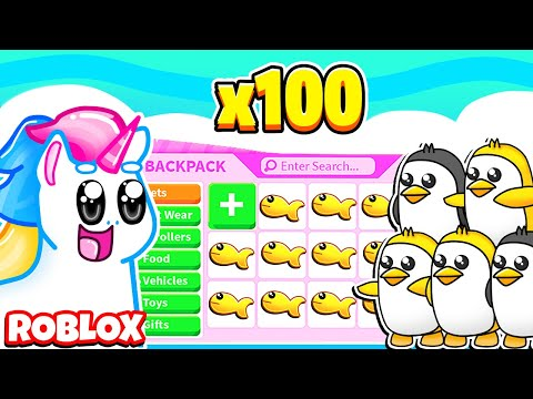 THROWING 100 GOLDEN FISH FOR GOLDEN PENGUINS IN ADOPT ME! Roblox Adopt Me