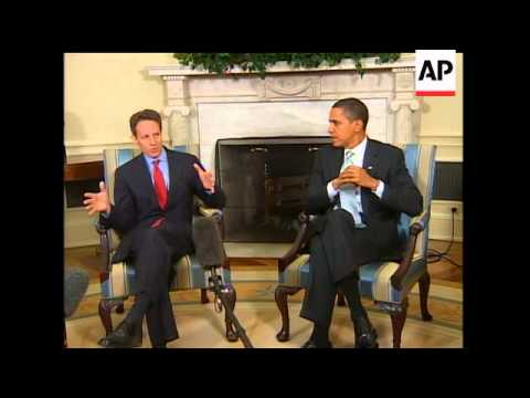 President Barack Obama has Oval Office meeting with Treasury Secretary Timothy Geithner prior to Gei