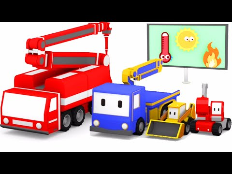 Пожарная машина с Малышами-грузовичками: бульдозер, кран, экскаватор, обучающий мультфильм