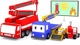 Пожежна машина з Малюками-грузовичками: бульдозер, кран, екскаватор, навчальний мультфільм
