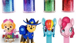 Learn Colors Videos for Kids: Paw Patrol with My Little Pony Make Glitter Mess Bath Time Bubbles