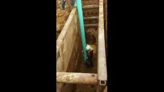 Excavator Utility work - installing sewer part 3 gold rush