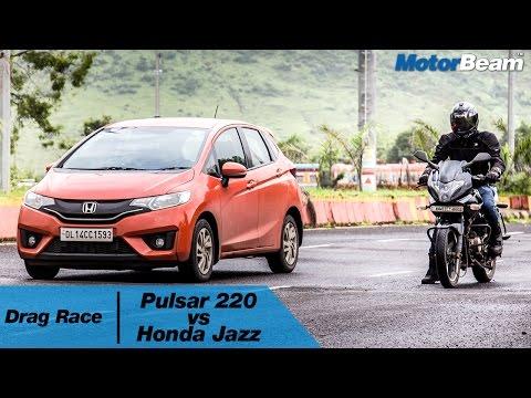 Pulsar 220 Vs Honda Jazz - Car Vs Bike: Episode 1   MotorBeam
