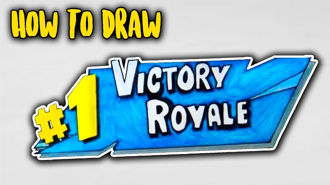 How To Draw Fortnite Season 5 Victory Royale Logo Easy Youtube