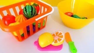 Учим овощи и фрукты на липучках. Развивающее видео для детей.
