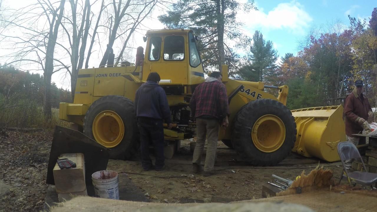 loader split, John Deere 644E center pin overhaul