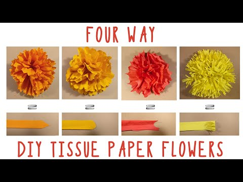 DIY | Four way Tissue paper flowers