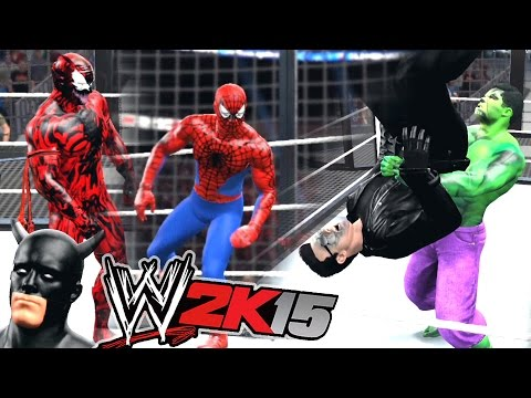WWE 2K15 - TERMINATOR VS SPIDERMAN VS BATMAN VS HULK VS VENOM VS CARNAGE