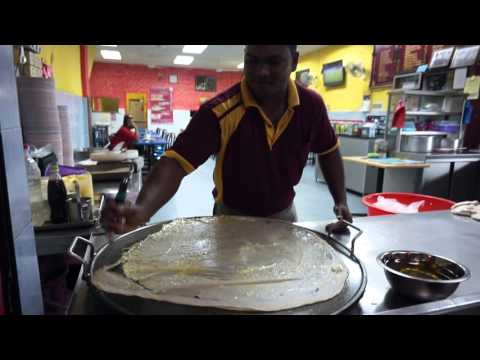 The making of Roti Tissue at an Indian Restaurant in Ipoh