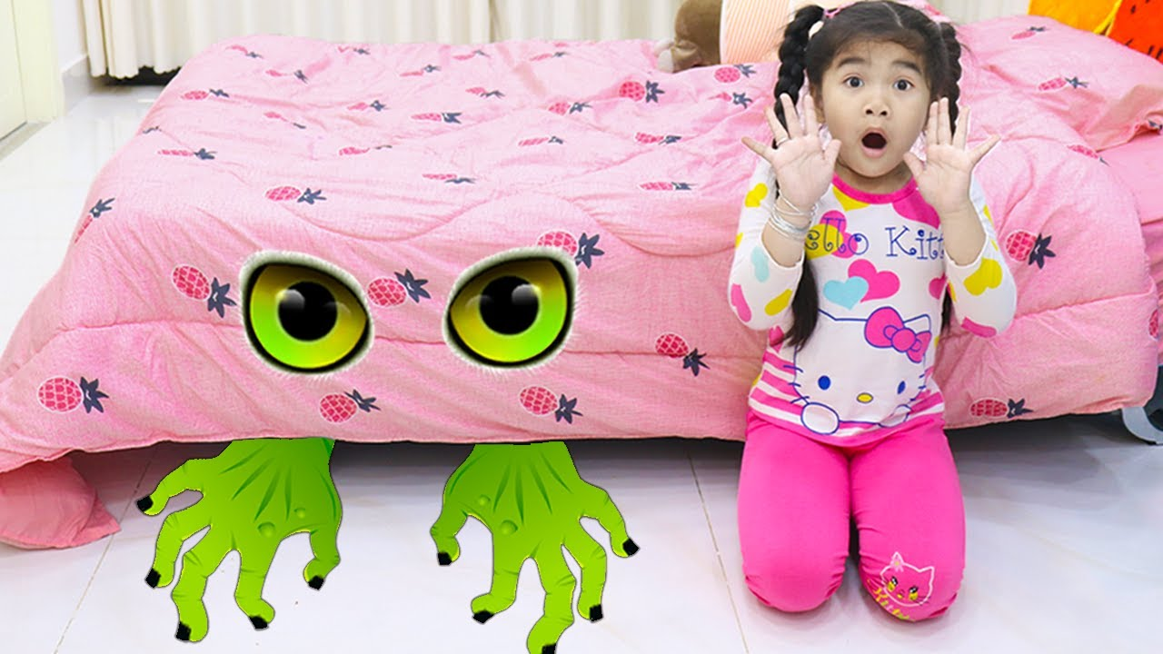 Monster Under the Bed Pretend Play with Suri and Sammy| Kids Bedtime Story