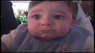 funny baby goes crazy