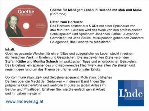 Hörprobe Goethe Für Manager Leben In Balance Mit Maß Und Muße