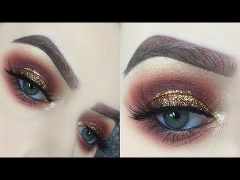 Red and Gold Glitter Smokey Eye Tutorial