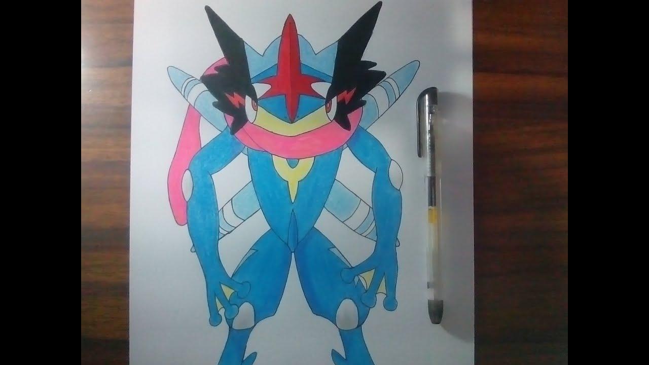Dibujando A Ash Greninja Pokemon Youtube